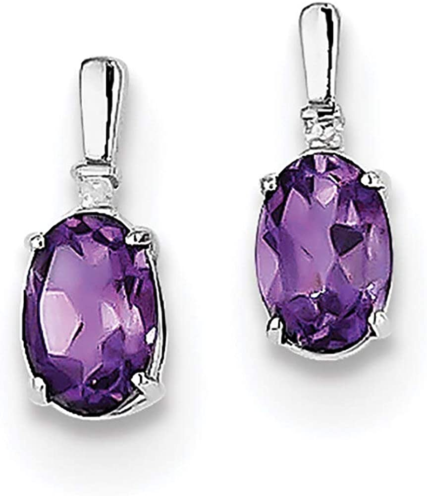 Lex /& Lu Sterling Silver w//Rhodium Diamond /& Amethyst Oval Earrings LAL109096