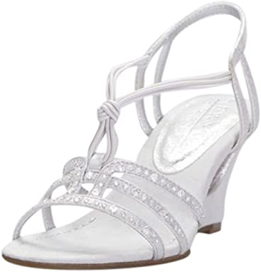 Davids Bridal Crystal-Studded Cutout Wedges Knotted Vamp Style NEWSTOME