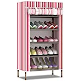 LJ&L Dormitory simple portable 6-storey shoe rack, seal design dust and water proof, European-style stripes Oxford cloth fabric shoes,B,23.611.835.4