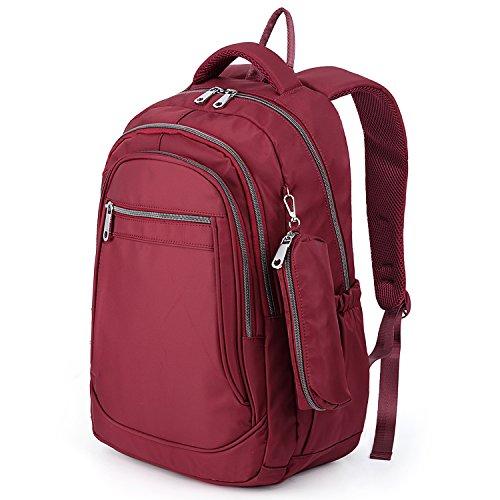 UTO Mochila Moda Oxford Paño Impermeable Nylon Mochila Escuela Universidad Bolso de Hombro con Bolsa de Lápiz Rojo Rojo