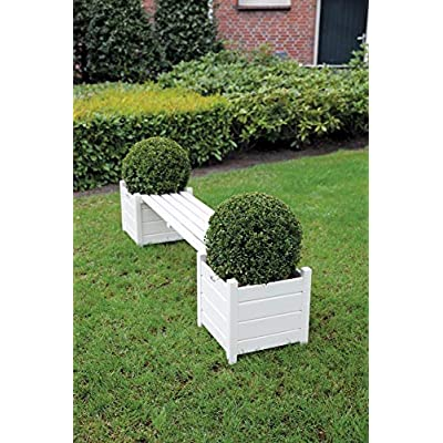 Esschert Design Planters with Bridge Bench, White : Garden & Outdoor