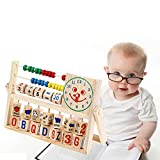 KateDy 1 pc Wooden Montessori Teaching Tool Math Number Versatile Flap Abacus Smiling Face Clock Calculation Wooden Toys Preschool Learning Toy Educational Toy