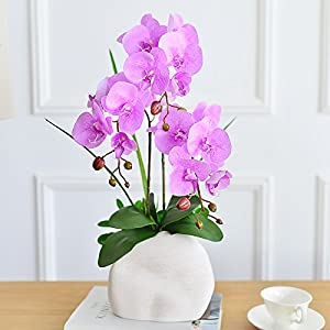 SituMi Artificial Flowers The Orchid Pu Silk Flower Home Decoration Camellia Ornaments,Light Violet 12
