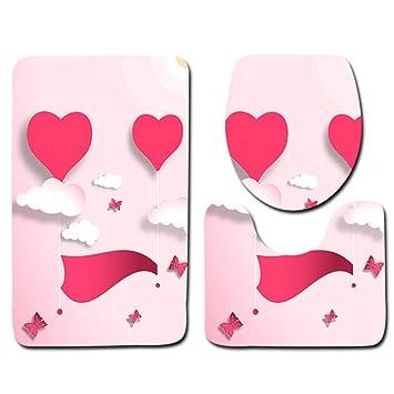 Hysxm Badezimmer WC Matten Romantische Traum Valentinstag Und Hochzeit  Zimmer WC Dekoration 3 Stücke Set