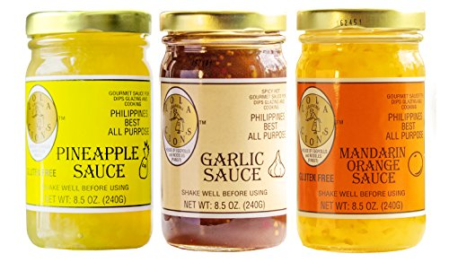 Pineapple Sauce Ham - Lola Cion's 3 Pack Variety Gourmet Sauces (8.5 oz.) | Excellent All Natural Flavor | Gluten Free Pineapple Sauce, Spicy Garlic Sauce and Gluten Free Mandarin Orange Sauce | Stir Fry and Glaze Sauces