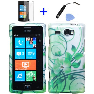 ((4 items Combo: Stylus Pen, Screen Protector Film, Case Opener, Graphic Case) Silver Green Vine Hawaiian Flower Design Rubberized Snap on Hard Shell Cover Faceplate Skin Phone Case for (AT&T) Samsung Focus Flash i677)
