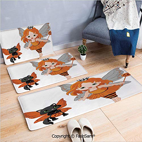 3 Piece Flannel Doormat Halloween Baby Fairy and Her Cat in Costumes Butterflies Girls Kids Room Decor Decorative for Kitchen Rugs Carpet(W15.7xL23.6 by W19.6xL31.5 by W31.4xL47.2) -
