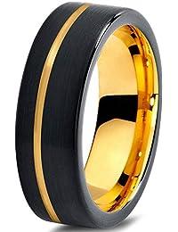 Tungsten Wedding Band Ring 7mm for Men Women Black & 18K Yellow Gold Pipe Cut Brushed Polished Lifetime Guarantee