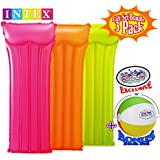"Matty's Toy Stop Neon Frost Air Mats Inflatable Pool Floats (72"" X 30"") Neon Colors Yellow, Orange & Pink Gift Set Bundle with Bonus 16"" Beach Ball - 3 Pack"