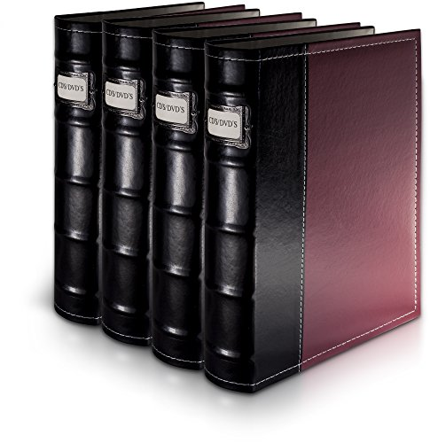 Bellagio-Italia Burgandy Leather Disc Storage Binder Perfect For CDs, DVDs, Blu-Rays, and Video Games - 4 (Handstands Cd)