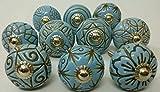 Vintage Look 10 Ceramic Knobs Artncraft Hand Carved Ceramic Knobs Handmade Ceramic Door Knobs Kitchen Cabinet Drawer Pulls Kid's Bedroom Knobs by Artncraft (Blue)