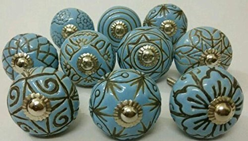 Vintage Look 10 Ceramic Knobs Artncraft Hand Carved Ceramic Knobs Handmade Ceramic Door Knobs Kitchen Cabinet Drawer Pulls Kid's Bedroom Knobs by Artncraft (Blue) by Artncraft