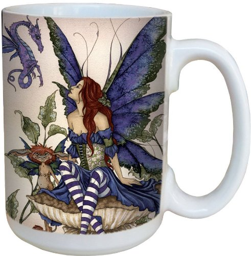 Fairy Bottom of the Garden Coffee Mug, Large 15-Ounce Ceramic Cup, Full Handle - Fairies Theme, Gift for Fantasy Lovers - Tree-Free Greetings 79138