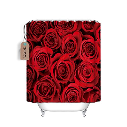 Home&Family Waterproof Fabric Bathroom Shower Curtain with Hooks Red Rose Flower Floral Print Design 66 x 72