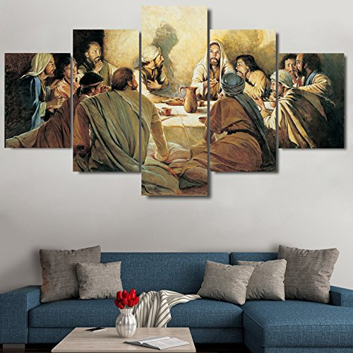 Premium Quality Canvas Printed Wall Art Poster 5 Pieces / 5 Pannel Wall Decor Last Supper Painting, Home Decor Pictures - With Wooden Frame by PEACOCK JEWELS