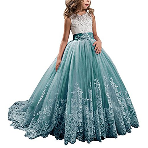 YIPEISHA Flower Girl Dresses Pageant Dresses Kids Prom Party Tulle Ball Gown 6 US Teal Teal Flower Girl