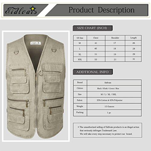 Eidlvais Men's Multi-Pockets Vest For Outdoors Travels Sports Khaki Size XL by Eidlvais (Image #3)