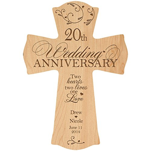Personalized 20th Wedding Anniversary Wood Wall Cross Gift for Couple 20 year Anniversary Gifts for Her, Anniversary Gifts for Him Two Hearts Two Lives One Love (8.5