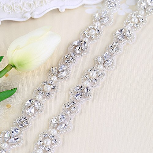 Embellished Sash (XINFANGXIU Wedding Dress Belt,Bridal Belts and Sashes,Rhinestone Applique Trim for Women Bride Bridesmaid Princess Dress Belt,Decorate Flower Girl Baskets,Cake,Toasting Flutes,Serving Sets,Headpiece)