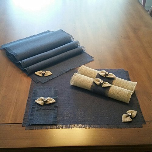 Burlap Navy Blue Shabby Chic Table Runners, Placemats, Silverware Holders, Napkin Rings or Decorative Napkins with Natural Handmade Bow-tie Accent (Quantities of 4 or 6)]()