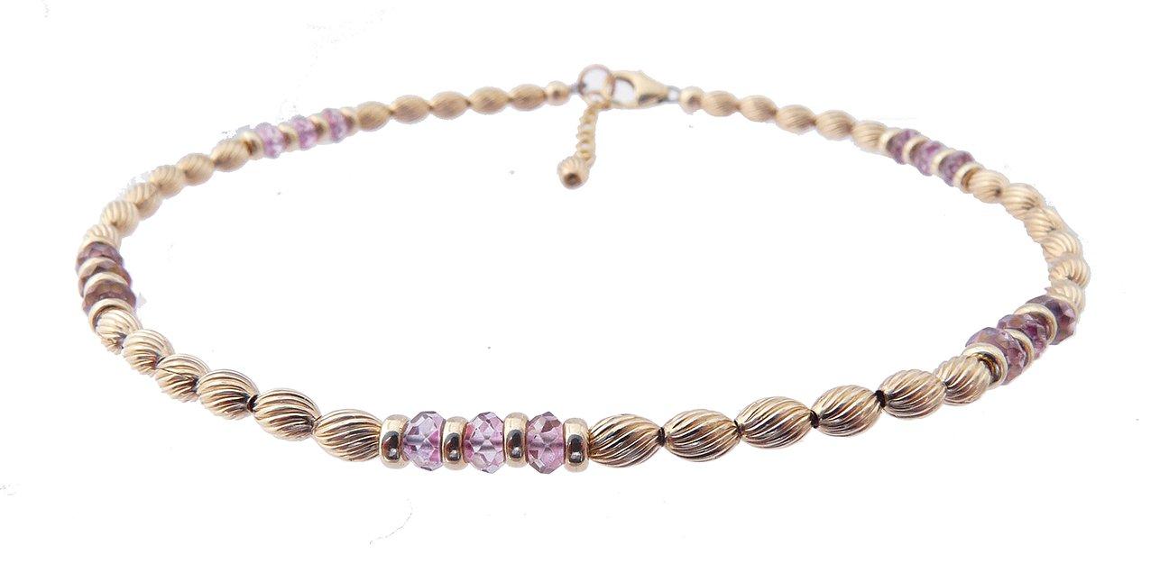 DAMALI 14K Gold Ankle Bracelets: Pink Sapphire Beaded SeptemberBirthstone Jewelry