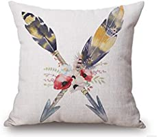 Retro nostalgia flower feathers arrow Cotton Linen Throw Pillow covers Case Cushion Cover Sofa Decorative Square 18 inch (2)