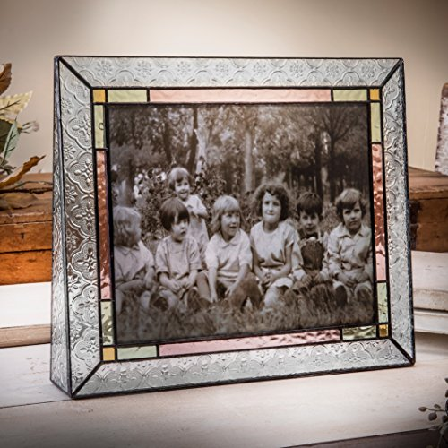 J Devlin Pic 137-81H Colorful Picture Frame 8x10 Horizontal Photo Frame Stained Glass Home Decor Pale Purple Green (Glass Family Frame)