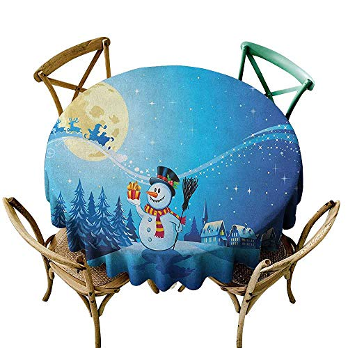 Stain Resistant Round Tablecloth Christmas Snowy Landscape Pines Houses Starry Sky Full Moon and Santa with Present Blue Eggshell White Resistant/Spill-Proof/Waterproof Table Cover 43 INCH