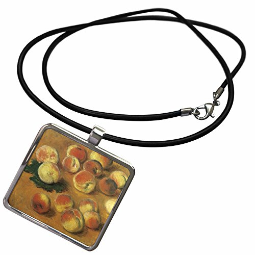 (3dRose PS Vintage - Fruit Peaches Vintage fine Art Monet - Necklace with Rectangle Pendant)