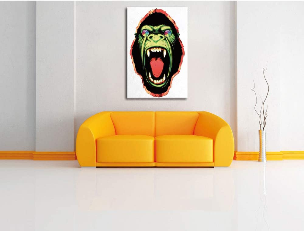 size: 60x40 cm not a poster or billboard Hypnotic ape white canvas picture painting on canvas huge XXL Pictures completely framed with stretcher cheaper than painting or an oil painting art print on wall picture with frame