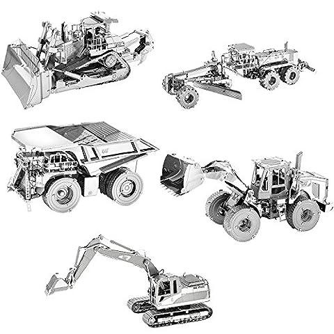 Fascinations Metal Earth CAT 3D Metal Model Kit - Set of 5 - Motor Grader, Excavator, Wheel Loader, Mining Truck, - Cat Motor Grader