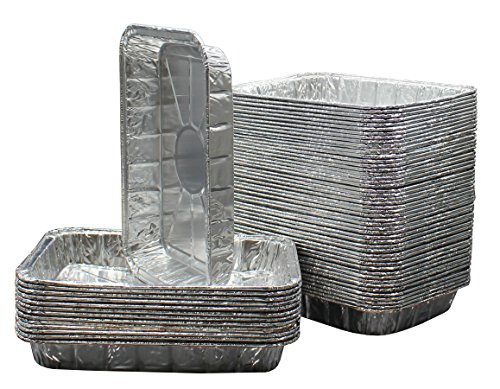Pack of 50 Aluminum Foil Grill Drip Pans - Bulk Package of Durable Cooking Trays – Disposable BBQ Grease Pans – Made in USA - Great for Baking, Roasting, and Cooking - Standard Size 8.5