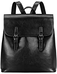 S-ZONE Women Leather Backpack Retro Chic Preppy Commuter Bag Daypack