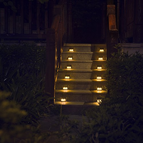 [Warm Light] Solar Lights for steps decks pathway yard stairs fences, LED lamp, outdoor waterproof, 6 Pack (Post Deck Lights Solar)