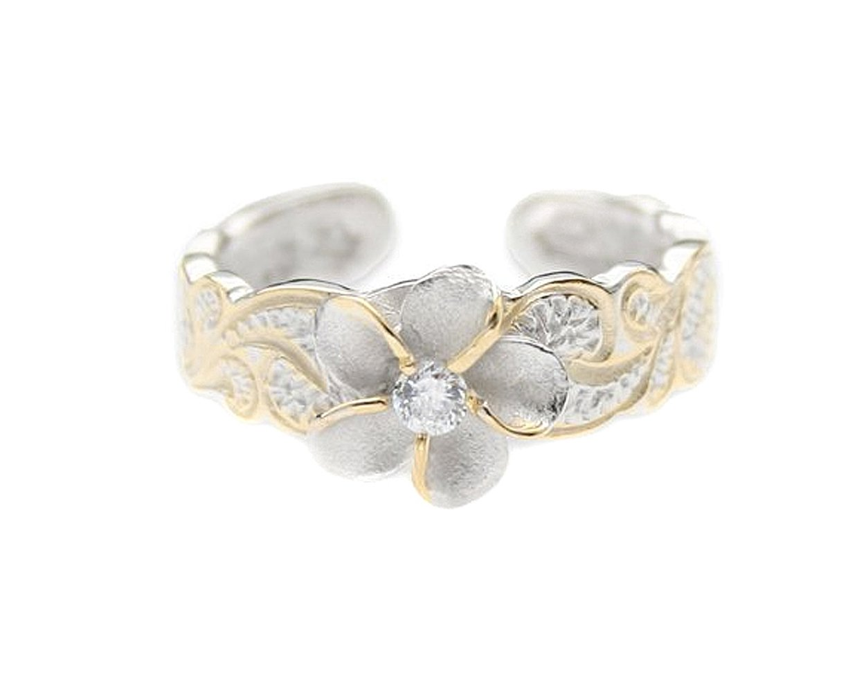 Hawaiian Sterling Silver with Yellow Gold Flashed Plumeria Toe Ring with Synthetic CZ Accent by Maile Silver