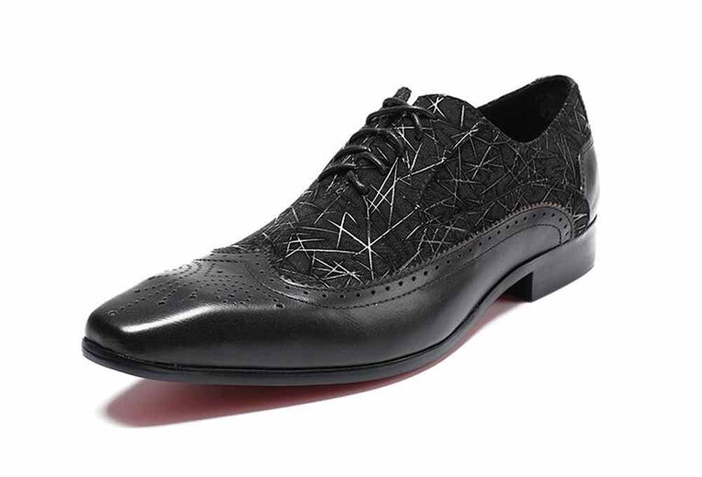 GLSHI Männer Leder Handgefertigte Schuhe Prägung Kleid Schuhe Oxford Britische Werkzeugausstattung Mode Niedrige Spitzenschuhe