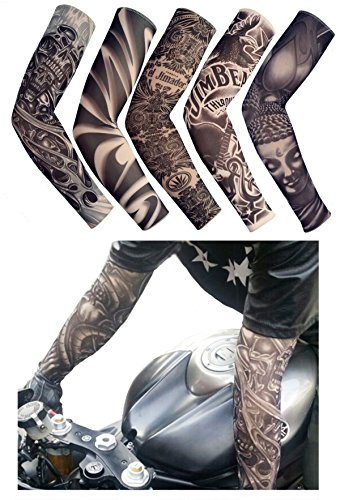 iToolai Fake Temporary Tattoo Sleeves for Men and Women (Unisex Dark Set, Pack of 5)]()