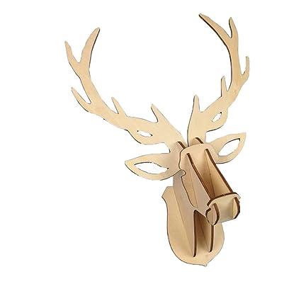 LADEY 3D Cardboard Safari Animals Lifelike Deer Head Puzzle Large