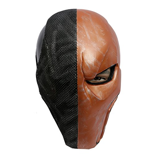Arkham Costume City Bane (Xcoser Men's Deluxe Deathstroke Mask Helmet Newest Version Orange)