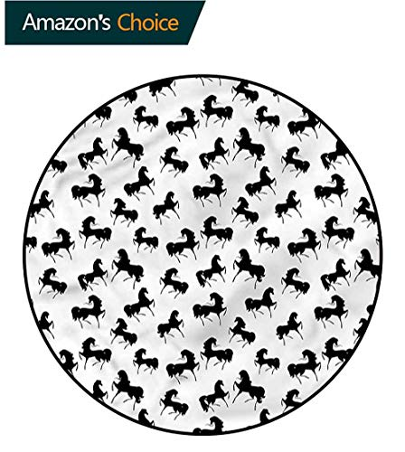 (RUGSMAT Horses Modern Flannel Microfiber Non-Slip Machine Round Area Rug,Monochrome Farm Animal Protect Floors While Securing Rug Making Vacuuming Round-47)