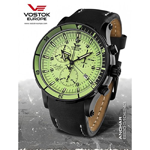 Vostok-Europe Anchar Men's Chrono Diver Watch Black and Green 6S30/5104243