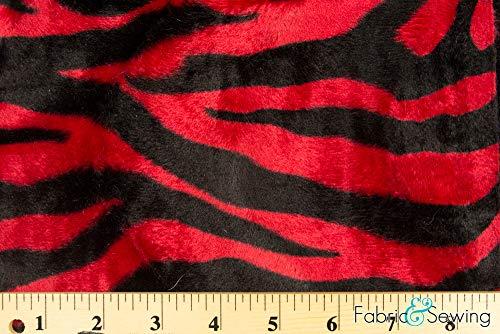 14 Ounce Polyester - Red and Black Zebra Animal Print Velboa Plush Faux Fake Fur Fabric Polyester 14 oz 58-60