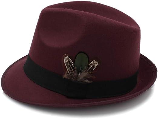 Sombrero vintage para hombre con ala ancha y plumas de