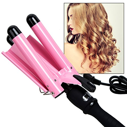 3 Barrel Waver (Curling Iron, 3 Barrel Hair Waver 25mm Stylish Fast Heating Hair Curlers with LCD Display Temperature Adjustable Ceramic Beach Waver Hair Curlers New Hair Styling Tools, Pink Handle)