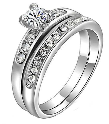Epinki White Gold Plated Ring, Round Brilliant Cut Cubic Zirconia CZ Engagement Ring Set for Women Size 5