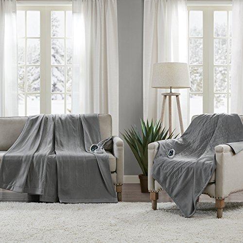 Beautyrest - Heated Fleece Blanket and Throw Combo Set - Grey - Queen Size Blanket 84