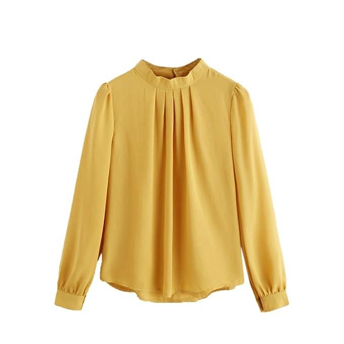 7e54263eb0e IEason Women Blouse Fashion Summer Women Casual Chiffon Long Sleeve Shirt  Loose Tops Blouse (XL