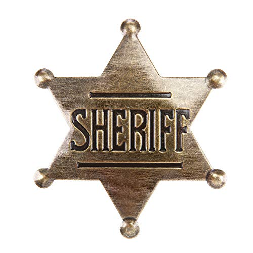 Sheriff Badge, Toy Sheriff Badge for Kids, Metal, Western Sheriff Badge, Deputy Sheriff Badge, Old West Prop, US-AKI-014 (Dark Bronze)]()