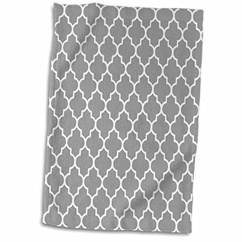 3dRose 3D Rose Dark Gray Quatrefoil Pattern-Grey Moroccan Tiles-Modern Stylish Geometric Clover Lattice Hand/Sports Towel, 15 x 22, (Gray Quatrefoil Clover)
