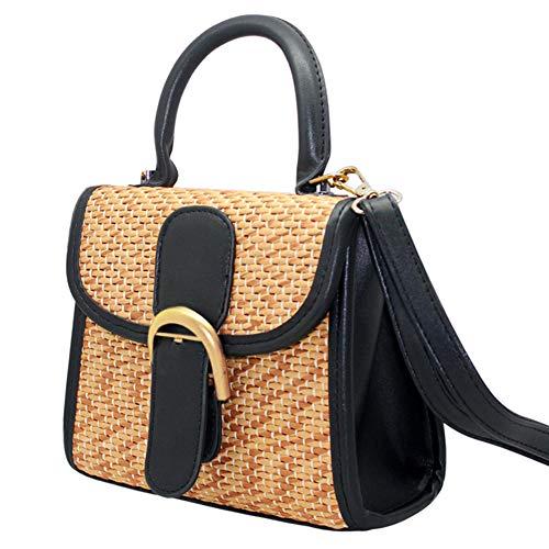 Boshiho Retro Straw Woven Handbag Womens Cross Body Bag Shoulder Messenger Satchel (Large - Black) ()